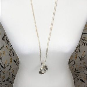 NWT! Napier long silver statement necklace